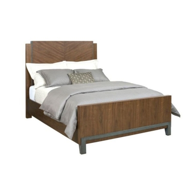 American Drew Chevron Walnut King Panel Bed Complete