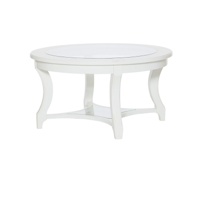 American Drew Round Glass Cocktail Table