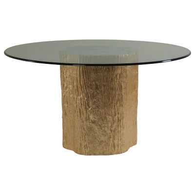 Artistica Home Segment Round Dining Table with Glass Top Gold Leaf