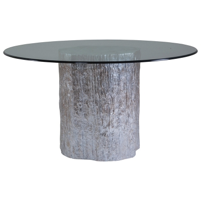 Artistica Home Segment Round Dining Table with Glass Top Silver Leaf