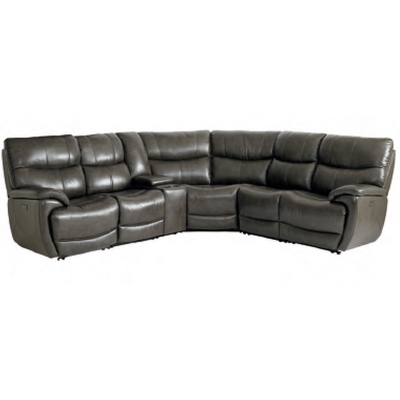 Bassett Brookville Leather Motion Sectional with Power