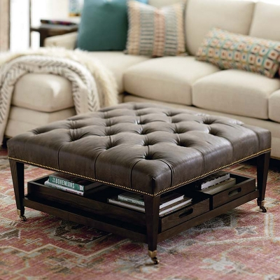 Bassett Kara Ottoman with Trays