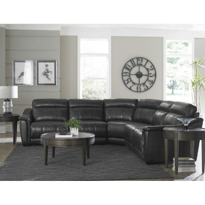Bassett 3684 Club Level Sheffield Leather Sectional