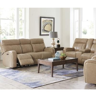 Bassett 3717 Club Level Beaumont Leather Motion Sofa