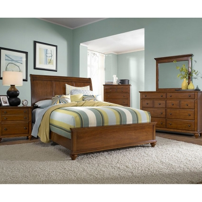 Broyhill 4648 270 Hayden Place Light Cherry Sleigh Bed Discount Furniture At Hickory Park