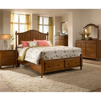Broyhill 4648 260 Hayden Place Light Cherry Panel Storage Bed Discount Furniture At Hickory Park
