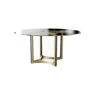 Caracole 54 Inch Round Glass Top Half Dining Table