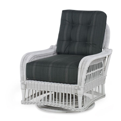 Century Mainland Wicker Swivel Lounge Chair with Button Back