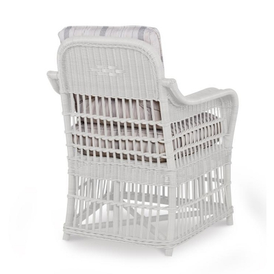 Century Mainland Wicker Large Dining Arm Chair with Button Back