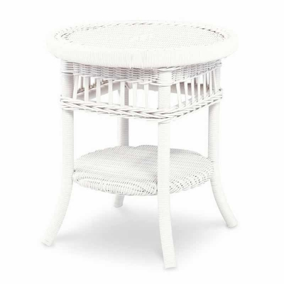 Century Mainland Wicker Side Table with Tempered Glass
