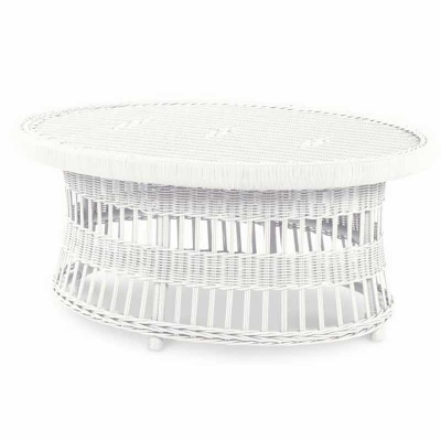 Century Mainland Wicker Oval Cocktail Table with Tempered Glass