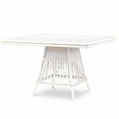 Century Mainland Wicker Square Dining Table with Tempered Glass