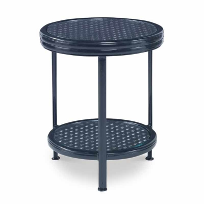 Century Augustine Metal Occasional Table with Tempered Glass