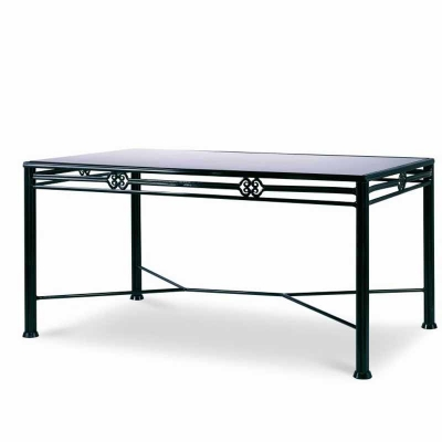 Century Augustine Metal Dining Table with Tempered Glass