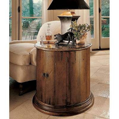 Century Barrel Commode With Brown Marble Top