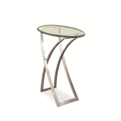 Century Metal Chairside Table With Glass Top
