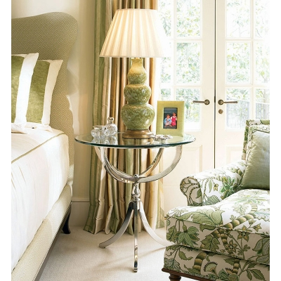 Century Stainless Steel Bedside Table With Glass Top