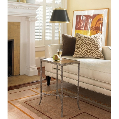 Century Metal Chairside Table With Gold and Silver Leaf Top