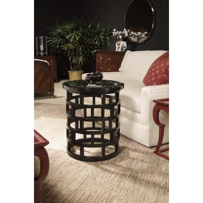 Century Chairside Table With Glass Insert Top