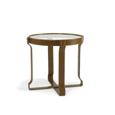 Century Leather Wrap Lamp Table