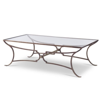 Century Metal Cocktail Table with Glass Top