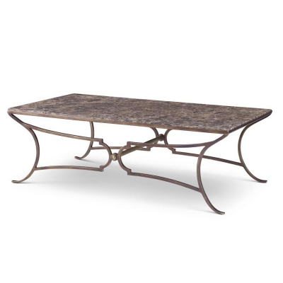 Century Metal Cocktail Table with Marble Top