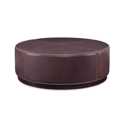 Century Round Cocktail Leather Ottoman