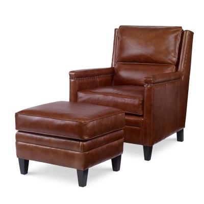Century Leather Chair and Leather Ottoman