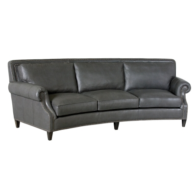 Classic Leather Curved Sofa