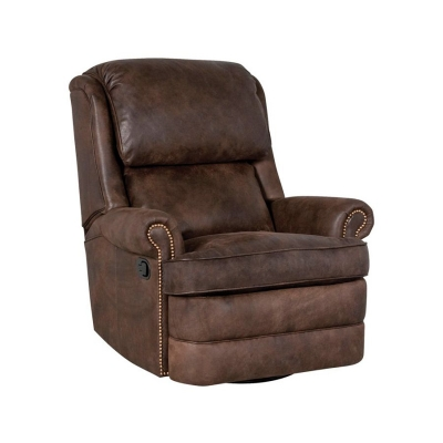 Classic Leather High-Back Box Cushion Swivel Glider Recliner