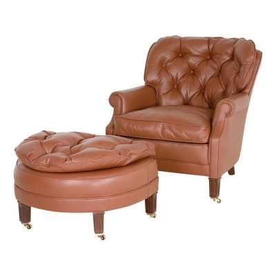 Classic Leather Lounge Chair Ottoman