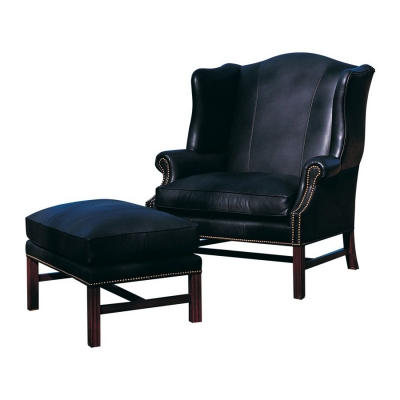 Classic Leather Wing Chair and One Half Ottoman