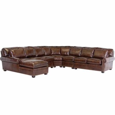 Classic Leather Sectional Round Chair