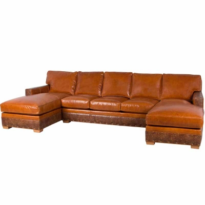 Classic Leather Sectional Armless Sofa