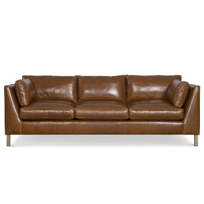CR Laine Leather Long Sofa