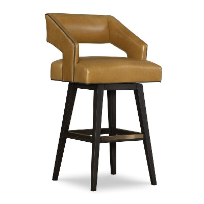 CR Laine Leather Swivel Bar Stool