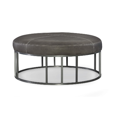 CR Laine Metal Base Leather Round Ottoman