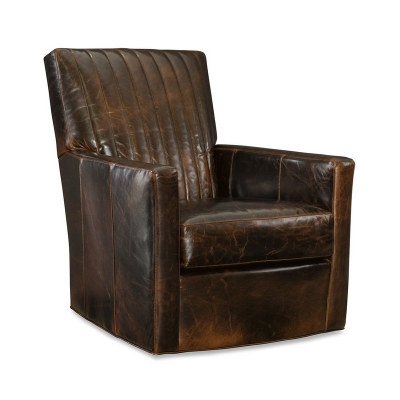CR Laine Leather Channel Back Swivel Chair