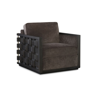 Fine Furniture Design Riveria Leather Swivel Basket Weave Chair