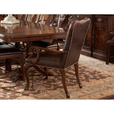 Fine Furniture Design Leather Upholstered Dining Arm Chair