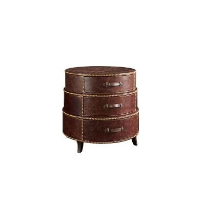 Fine Furniture Design Leather Wrapped End Table