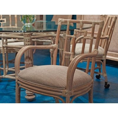 Fine Furniture Design Rarotonga Bamboo Castered Dining Arm Chair