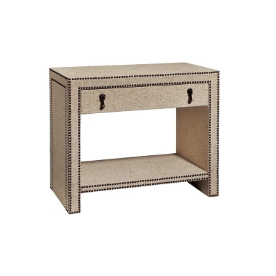 Fine Furniture Design Nailhead and Linen Nightstand