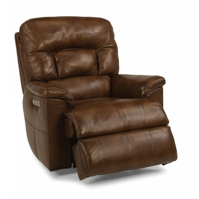 Flexsteel Leather Power Gliding Recliner with Power Headrest