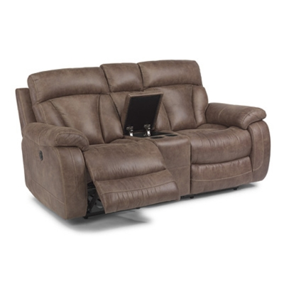 Flexsteel Fabric Power Reclining Love Seat with Console