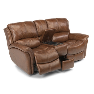 Flexsteel Leather Power Reclining Love Seat with Console