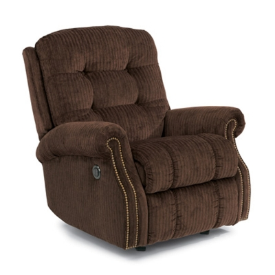 Flexsteel Fabric Power Rocking Recliner with Nails