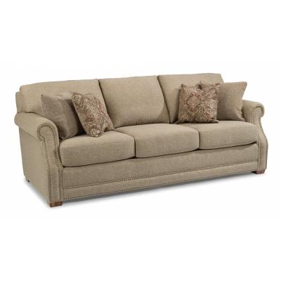 Flexsteel Fabric Sofa with Nailhead Trim