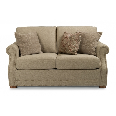 Flexsteel Fabric Loveseat with Nailhead Trim