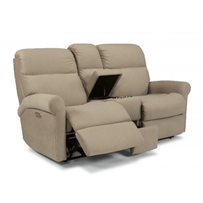 Flexsteel Power Reclining Loveseat with Console and Power Headrests